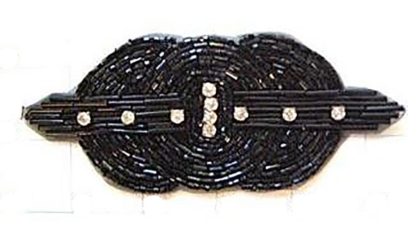 "Designer Motif Tri-Circle with Black Beads and Rhinestones 5.25"" x 2.25"""