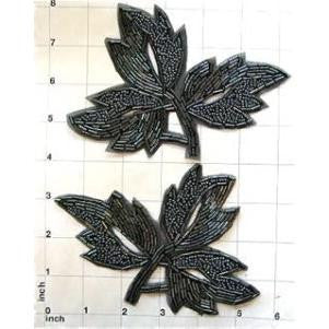 "Leaf Pair with Carcoal Beads 4.25"" x 6"""