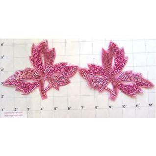"Leaf Pair with Fuchsia Beads 4.25"" x 6"""