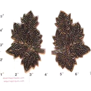 "Leaf Pair with Bronze Beads 4"" x 2.5"""