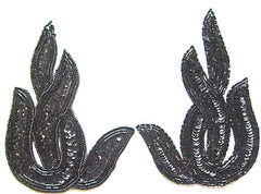 "Leaf Black Sequins and Beaded Twist Pair 6"" x 4"""