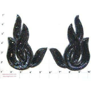 Designer Motif Moonlight Sequin Beaded Swirl Pair 6
