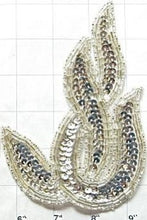 "Load image into Gallery viewer, Designer Motif Twist with Silver Sequins and Beads 6"" x 4"""