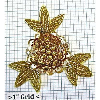 Flower with Gold Sequins and Beads 3""