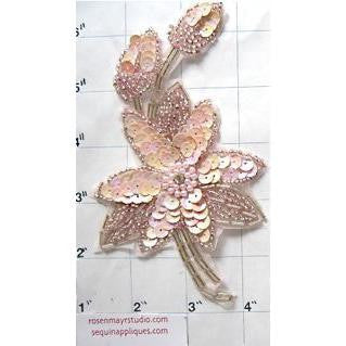 "Flower Single Pink Sequins and Beads 6"" x 3.5"""