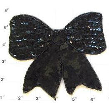 "Load image into Gallery viewer, Bow with Black Sequins and Beads 4.75""x 5.50"""