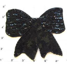 "Bow with Black Sequins and Beads 4.75""x 5.50"""