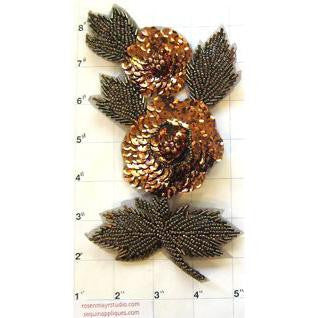 Flower with Bronze Sequins and Beads 7