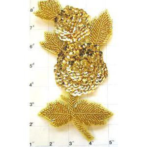 "Flower with Gold Sequins and Beads 7"" x 4"""