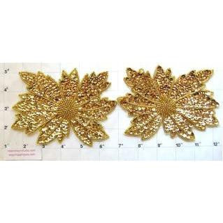 "Flower Pair with Gold Sequins and Beads 4"" x 5"""