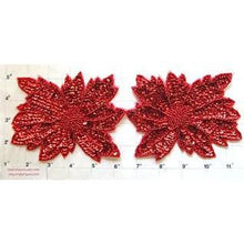 "Load image into Gallery viewer, Flower Pair with Red Sequins and Beads 4"" x 5"""