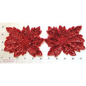 "Flower Pair with Red Sequins and Beads 4"" x 5"""