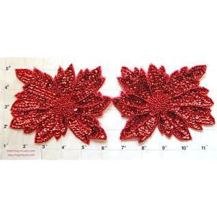 Flower Pair with Red Sequins and Beads 4
