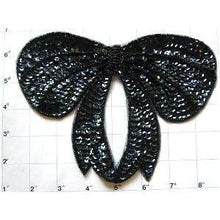"Load image into Gallery viewer, Bow with Black Sequins and Beads 6"" x 8"""