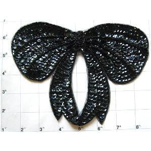 "Bow with Black Sequins and Beads 6"" x 8"""