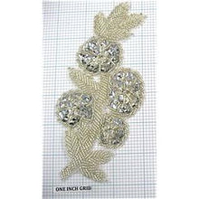 "Load image into Gallery viewer, Flower with Silver Sequins and Beads 7"" x 2.75"""