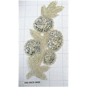 "Flower with Silver Sequins and Beads 7"" x 2.75"""