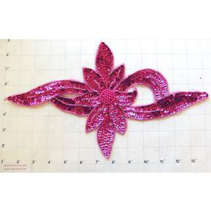 "Flower Fuchsia Sequins and Beads 13.5"" x 7.25"""