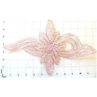 "Flower with Lite Pink Sequins and Beads 13.5"" x 7.25"""