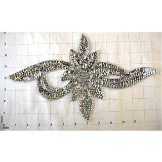 "Flower Silver Sequins and Beads12.5"" x 7.25"