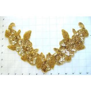 "Flower Neckline wtih Gold Sequins and Beads 7"" x 13"""