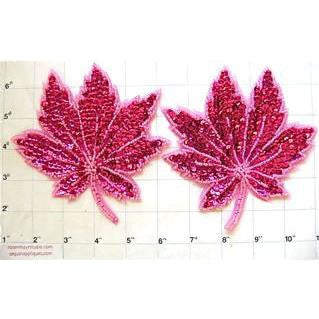 Leaf Pair with Fuchsia Sequins and Beads  5""