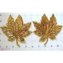 "Load image into Gallery viewer, Leaf Pair with Gold Sequins and Beads 5"" x 5"""