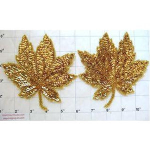 "Leaf Pair with Gold Sequins and Beads 5"" x 5"""