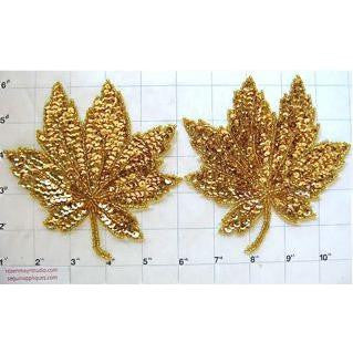 Leaf Pair with Gold Sequins and Beads 5