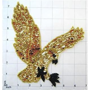 "Eagle with Gold Sequins and Beads 7"" x 7"""