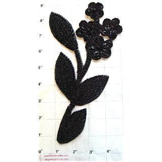 Flower with Black Beads 8.5""
