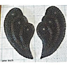 "Load image into Gallery viewer, Designer Motif Shell Pair with Black with Rhinestones 5"" x 3"""