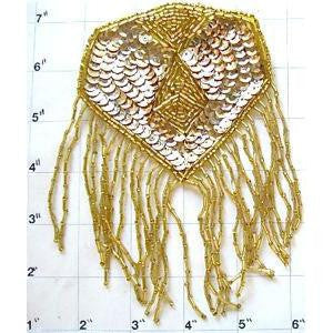 "Epaulet with Gold Sequins and Beads 6"" x 5"""