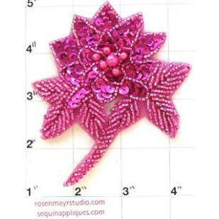"Flower  Fuchsia with Pink Sequins and Pink Pearls 4"" x 3.5"""