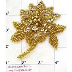 "Flower with Gold Sequins and Beads 4"" x 3.5"""