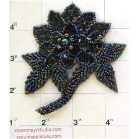 "Flower with Moonlite Sequins and Beads 4"" x 3.5"""
