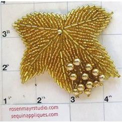 "Leaf Epaulet with Gold Beads 2.5"" x 3"""
