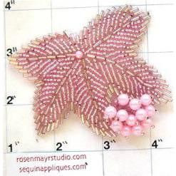 "Leaf Epaulet with Pink Beads 2.5"" x 3"""