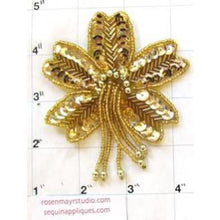 "Load image into Gallery viewer, Epaulet Flower with Gold Sequins and Beads 4.5"" x 3"""