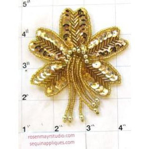 "Epaulet Flower with Gold Sequins and Beads 4.5"" x 3"""