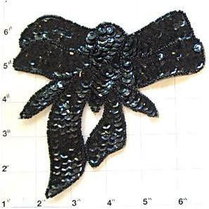 "Bow Black Sequin 6"" x 5.5"""