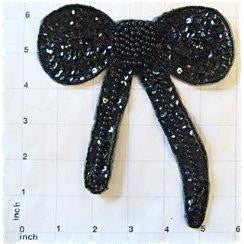 "Bow Black Sequin 6"" x 6"""