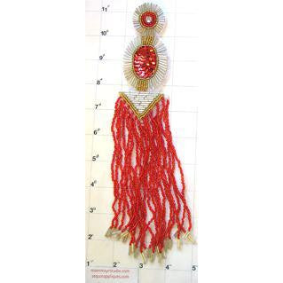 "Epaulet Tassel in Red White and Gold Circle 4"" x 10"""