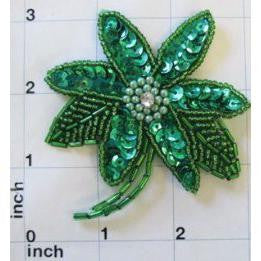 "Flower Green Sequin Pearls Center 3"" x 2.75"""
