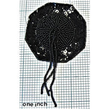 Load image into Gallery viewer, Epaulet with Black Sequins and Beads 4.5""