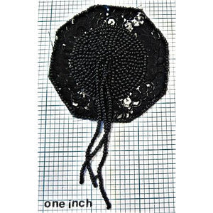 Epaulet with Black Sequins and Beads 4.5""