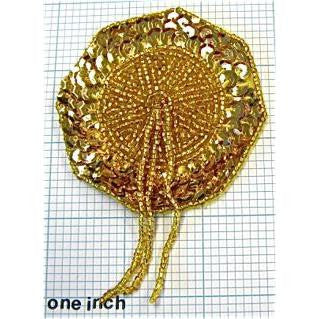 Epaulet with Gold Sequins and Beads 4.5""