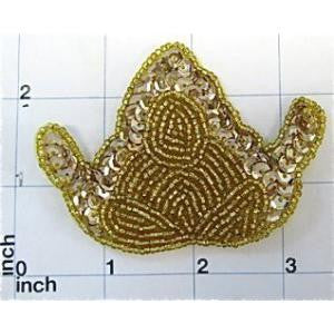 "Designer Motif with Gold Sequins and Beads 2.5"" x 3.5"""