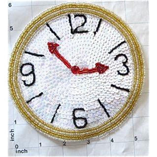 "Clock with China White Sequins Black and Gold Beads  6"" x 6"""