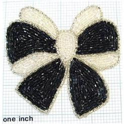 Bow Black and White Beaded 4""